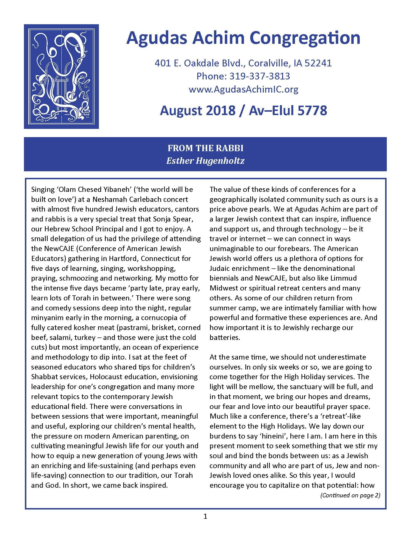 August 2018 Bulletin
