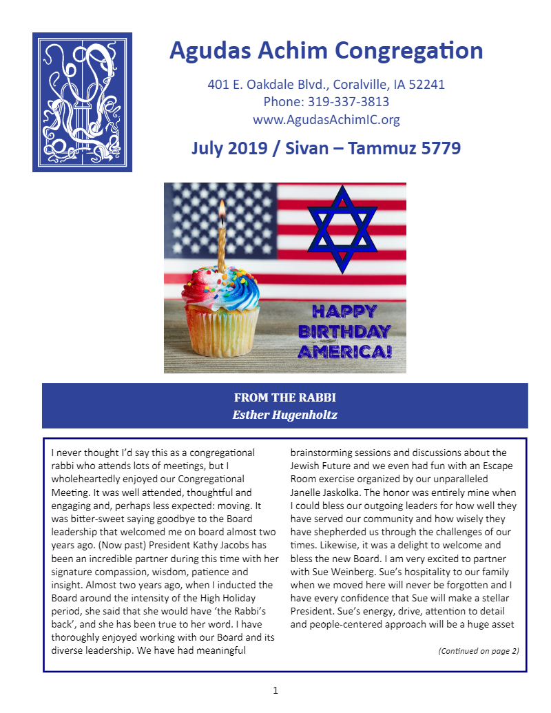 July 2019 Bulletin Cover