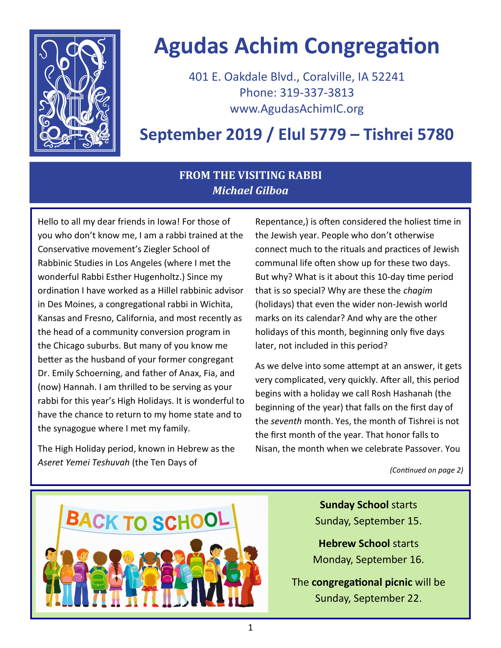 September Bulletin Cover