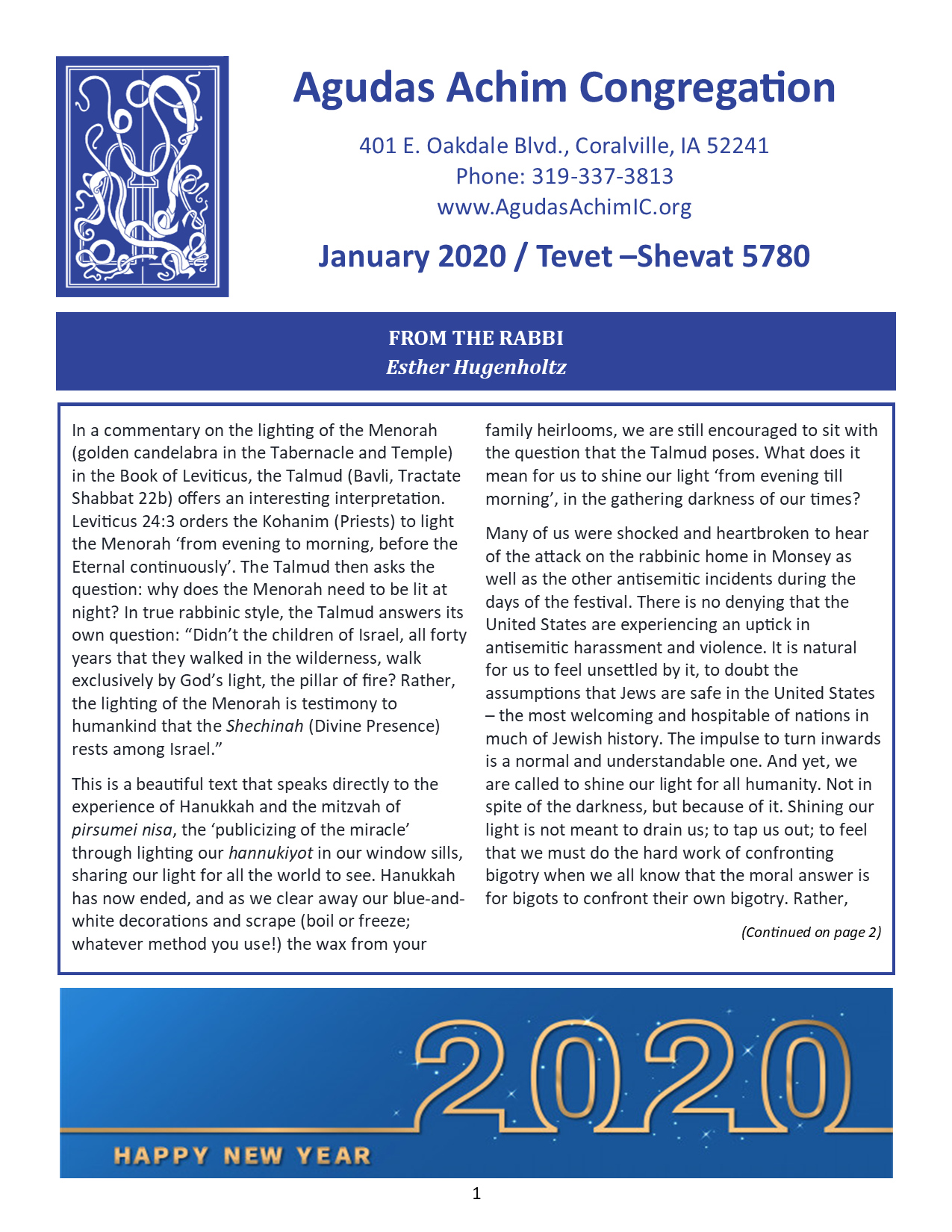 January Bulletin Cover