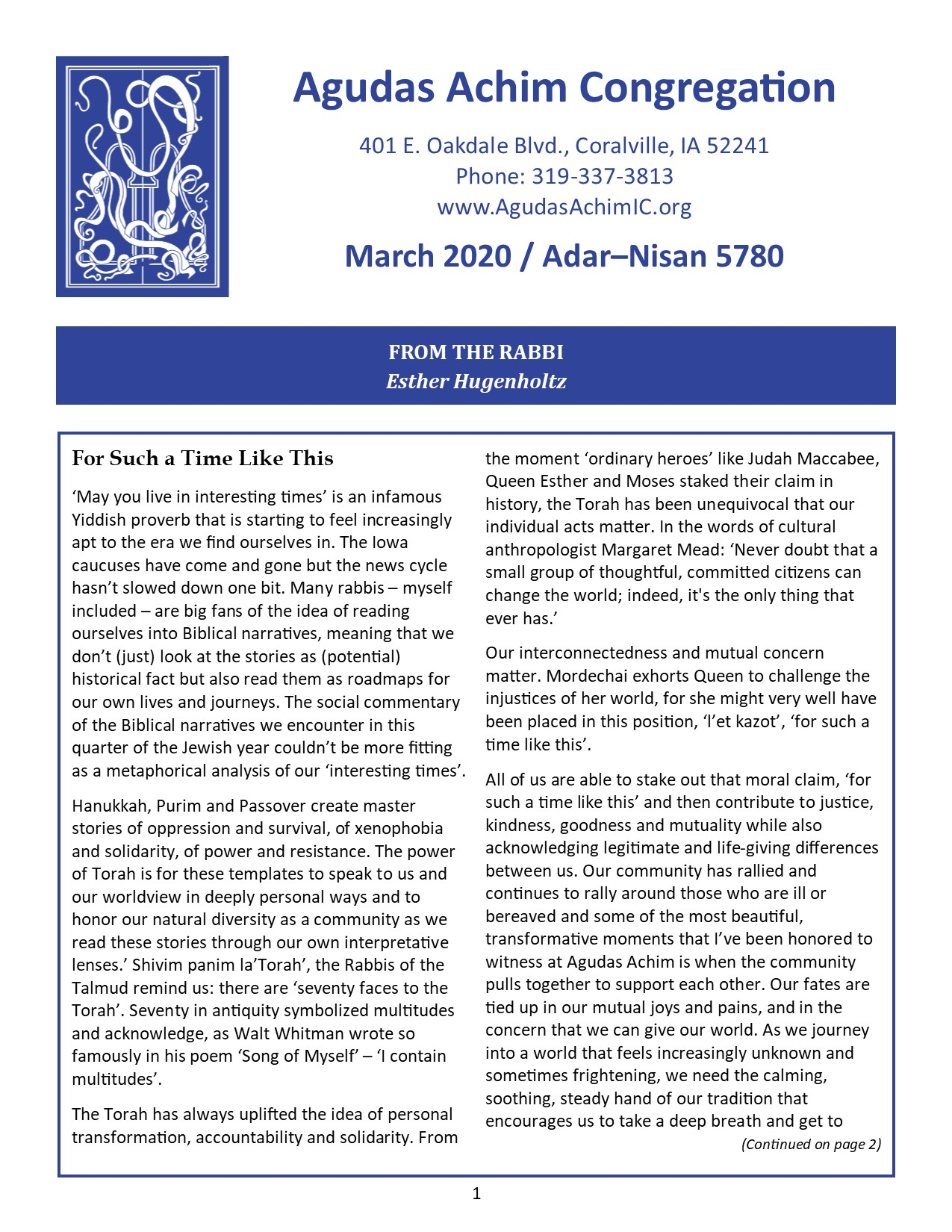 March 2020 Bulletin Cover
