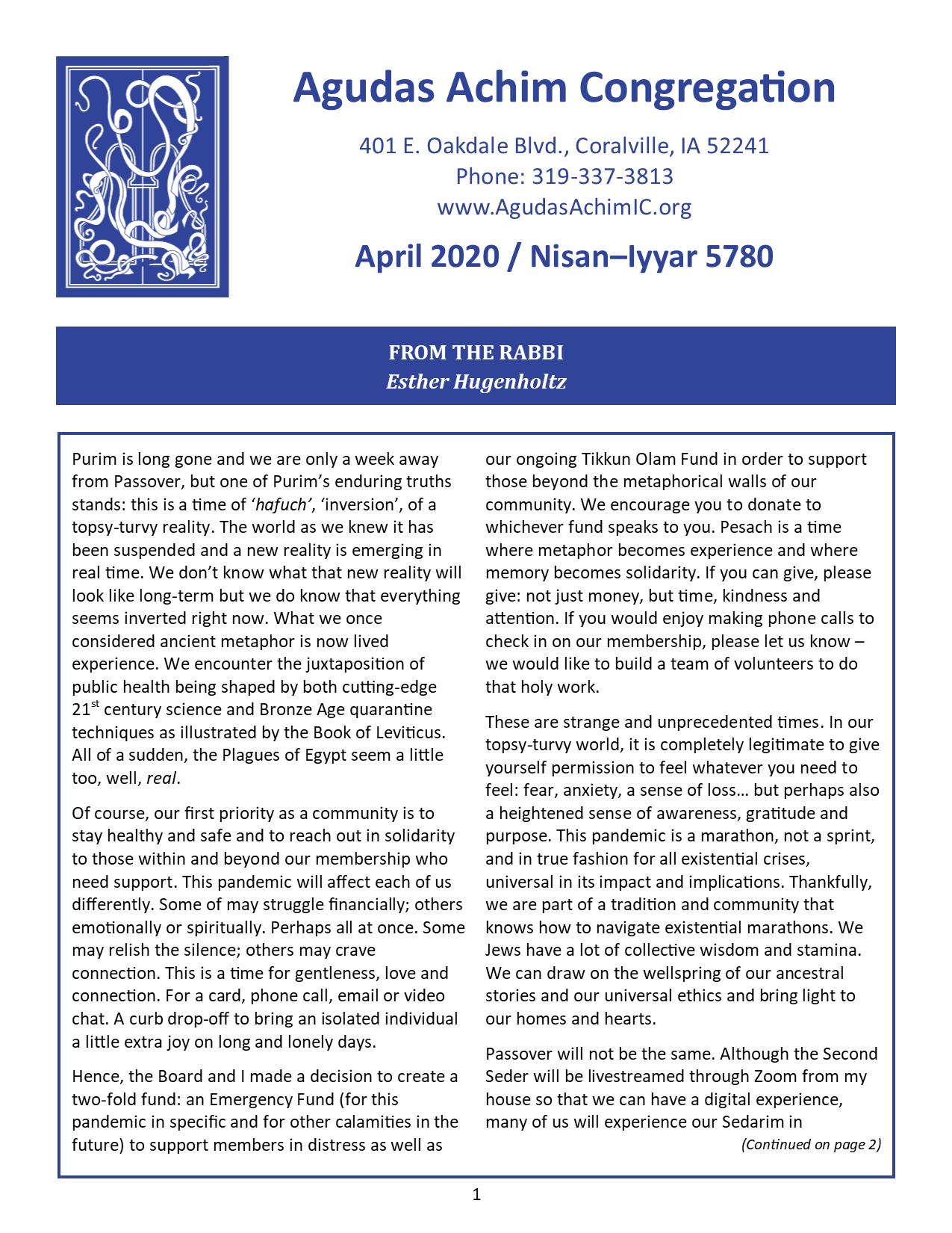 April Bulletin Cover