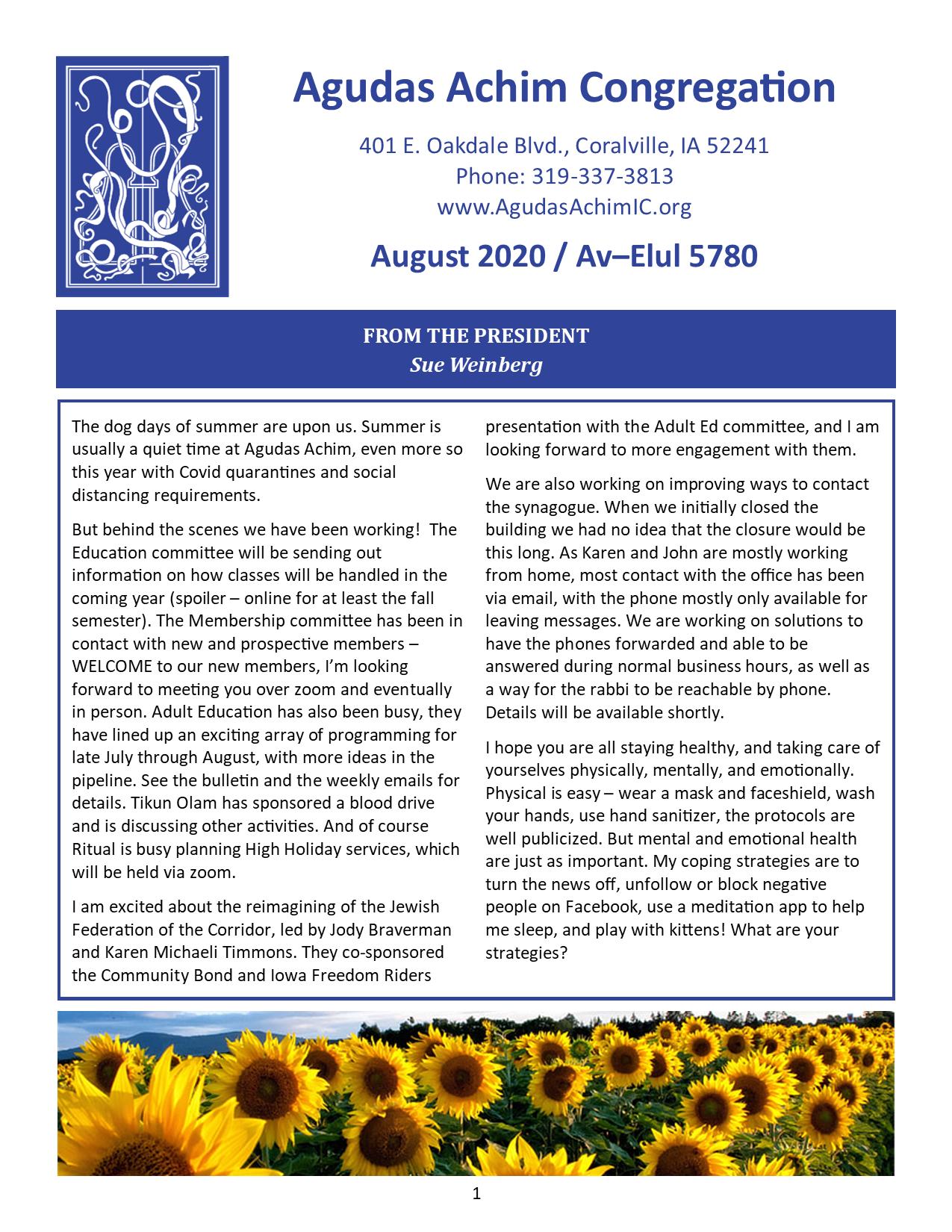 August 2020 Bulletin Cover
