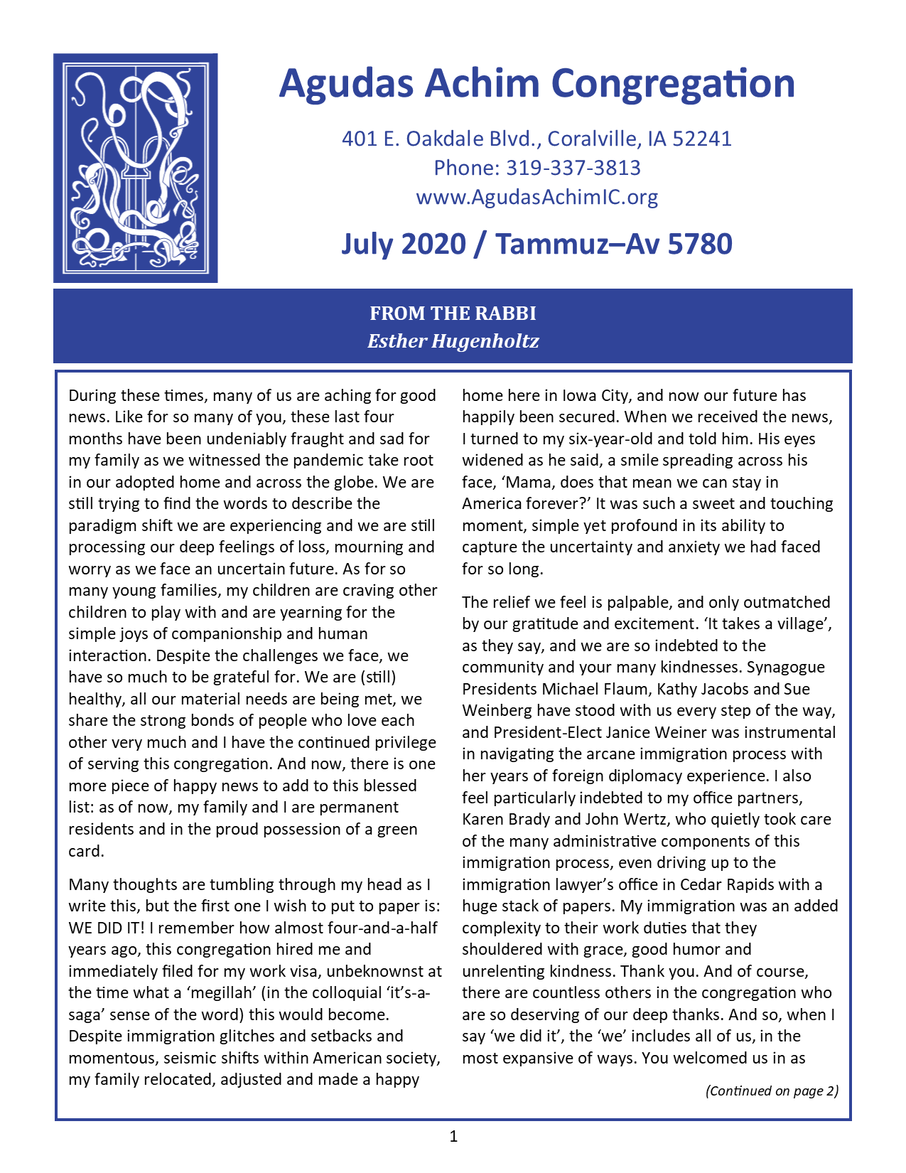 July 2020 Bulletin Cover