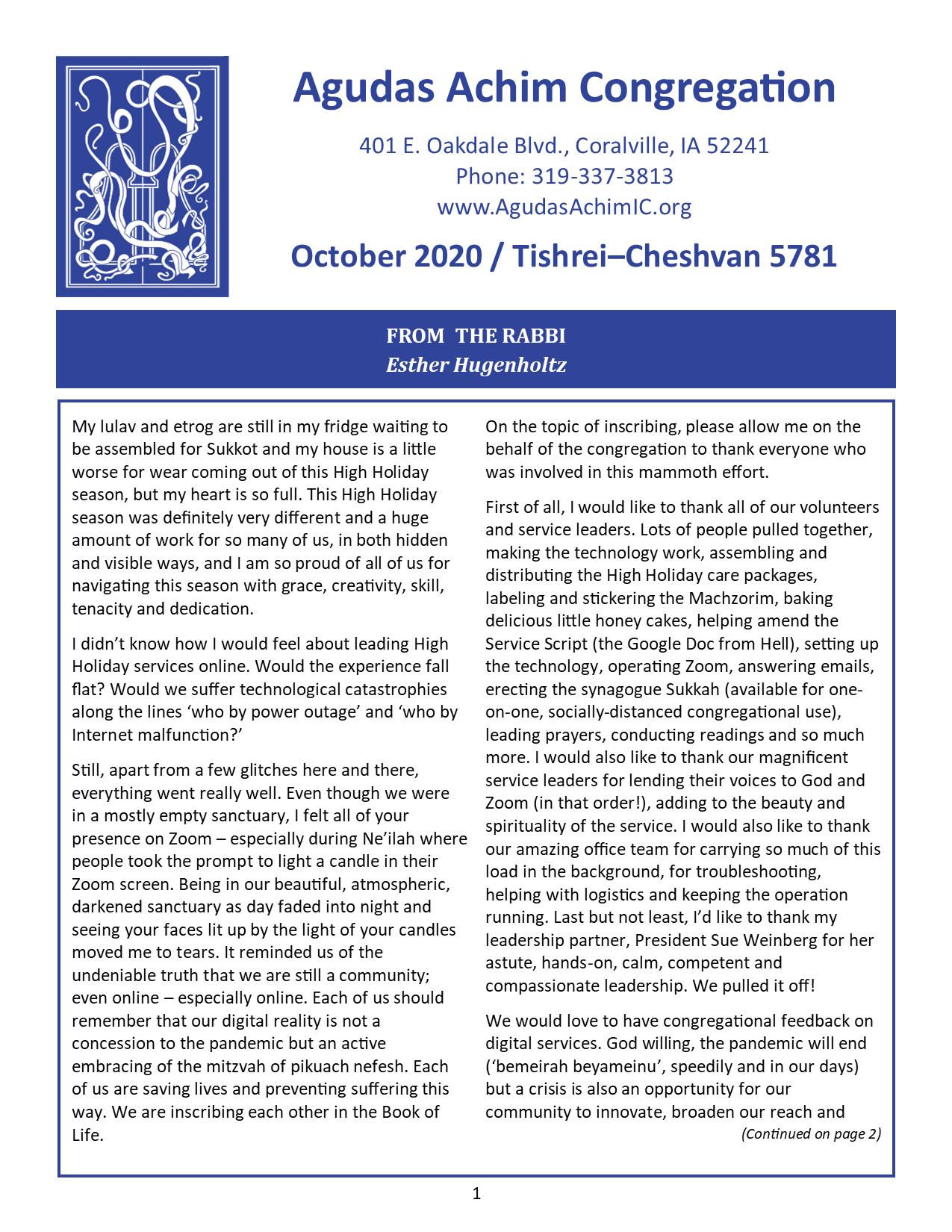 October 2020 Bulletin Cover