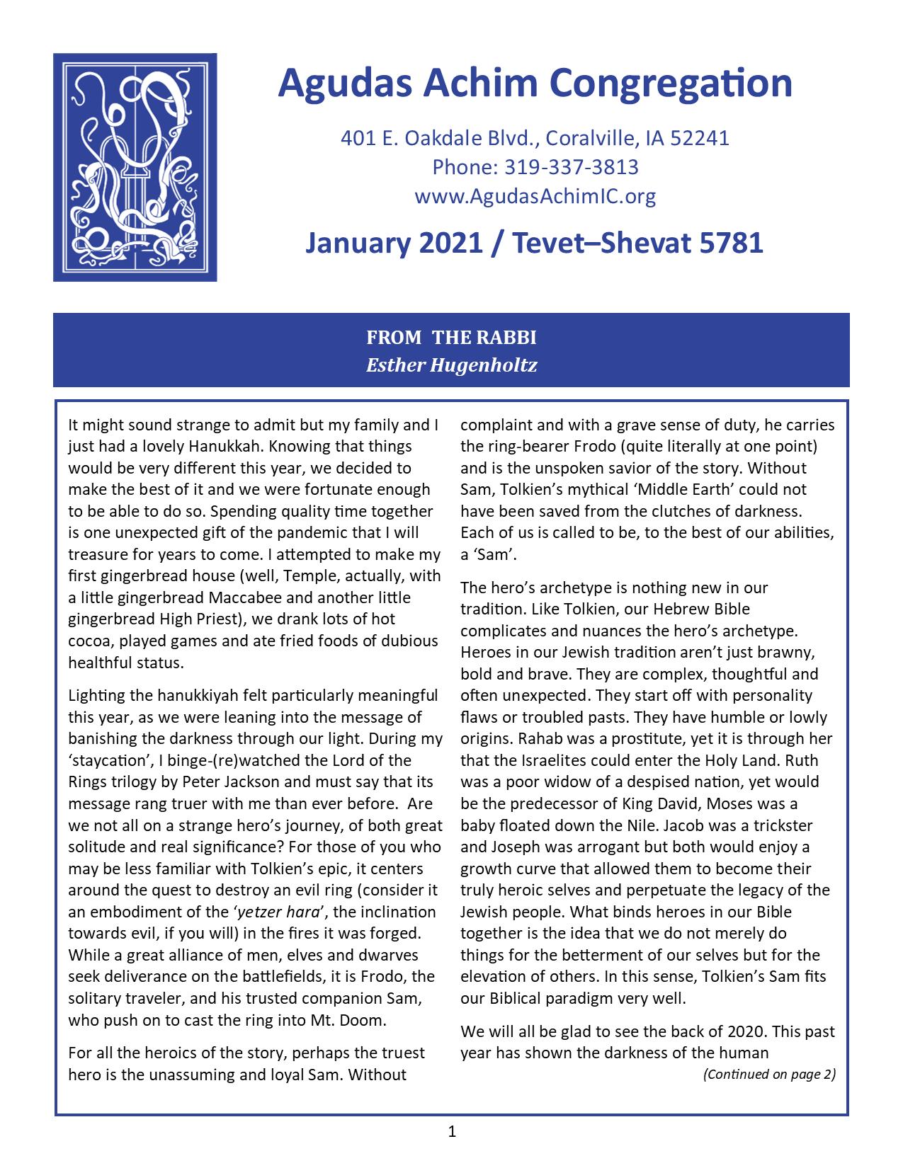 January 2021 Bulletin Cover
