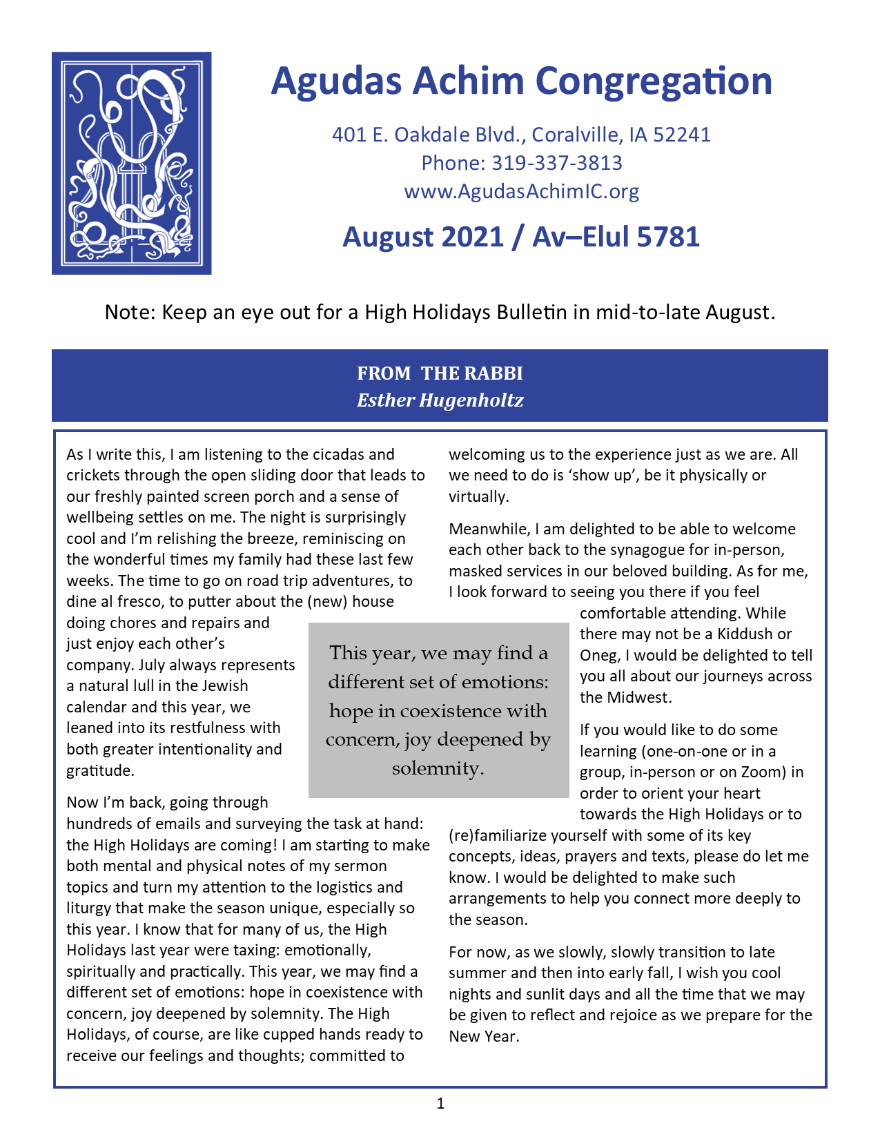 August 2021 Bulletin Cover