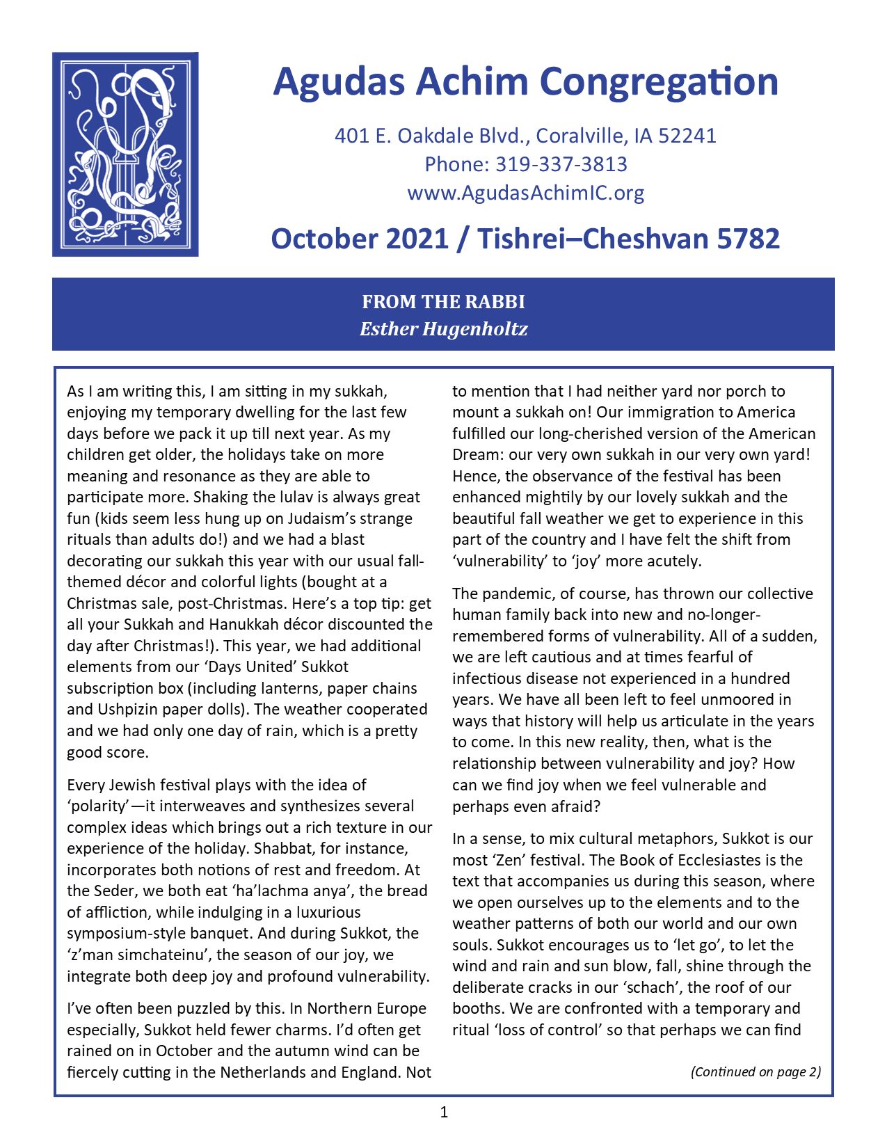 October 2021 Bulletin Cover
